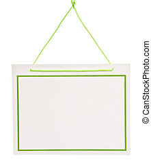 Blank Sign With Bright Green Cord
