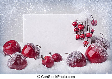 Blank sign with christmas decorations - Blank sign with red ...