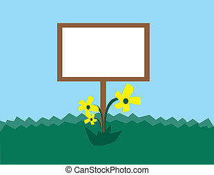 Blank Sign with Flowers