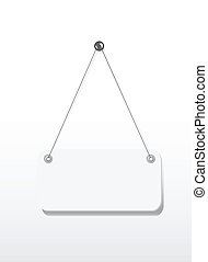 Blank signboard hanging with wire and nail isolated on white...