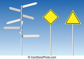 Blank signpost and guard posts. - Choice and warning...