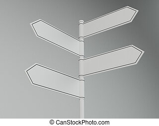 Blank Signpost - Blank signpost with four arrows - add your...