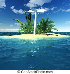 Blank signpost on a island