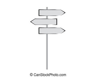 Blank signpost on a white background. Vector illustration.