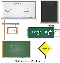 Blank Signs - Image of various blank signs with editable...
