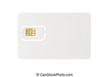 Blank SIM card isolated on white background.