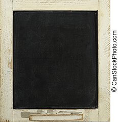blank slate blackboard and chalk