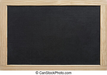 Blank slate board with wooden frame, isolated on white background
