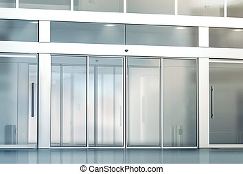 Blank sliding glass doors entrance mockup, 3d rendering....