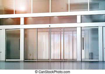Blank sliding glass doors entrance mockup, 3d rendering....