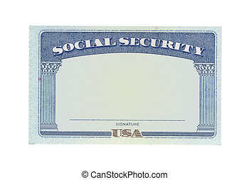 Blank social security card isolated on white background