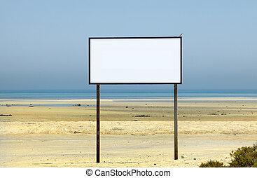 Blank space on beach sign