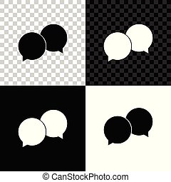 Blank speech bubbles icon isolated on black, white and transparent background. Vector Illustration