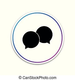 Blank speech bubbles icon isolated on white background. Circle white button. Vector Illustration