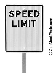 Blank Speed Limit Sign on Metal Pole Isolated on White Background.