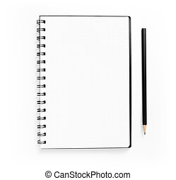 Blank spiral notepad and pencil on white background.