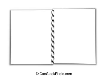 Blank Spiral open Notebook isolated over a white background