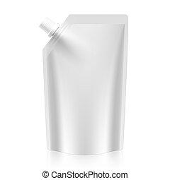 Blank spout pouch, bag foil or plastic packaging