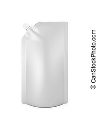 Blank spout pouch with cap or doy pack isolated on white