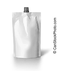 Blank spout pouch with cap or doy pack isolated on white ...