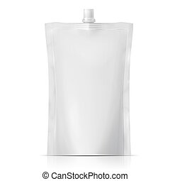 Big blank plastic spouted pouch for sauce, mayonnaise, ketchup, beverage, baby food or cosmetics. Packaging collection. Vector illustration.