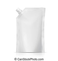 Blank plastic spouted pouch template for puree, beverage, cosmetics. Packaging collection. Vector illustration.