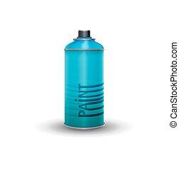 Blank spray paint, blue, vector illustration