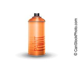 Blank spray paint, orange, vector illustration
