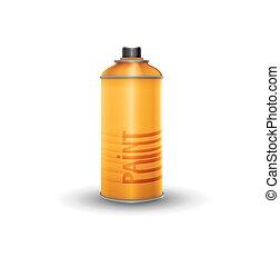Blank spray paint, yellow, vector illustration
