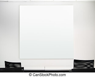 Blank square board on the white wall