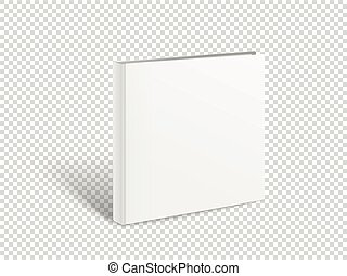 Blank square book vector mockup. Paper book isolated on...