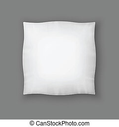Blank Square White Pillow. Vector