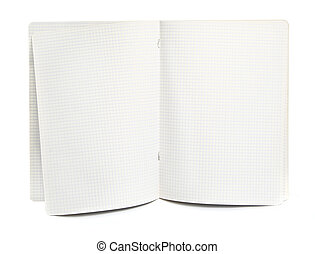 squared exercise book - blank squared exercise book on white...