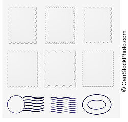 Blank stamps frames - Set of six poststamps frames and three...