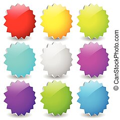 Blank starburst shapes, price flashes. Set of 9 colors. 3d.