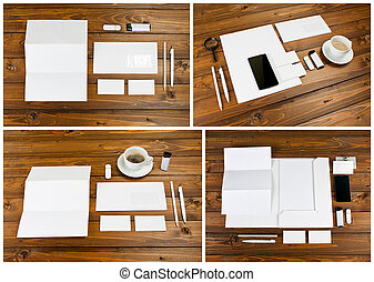 Blank stationery set on wooden background. ID template