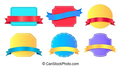 Blank Stickers Place for Text Vector Illustration