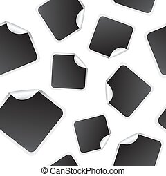 Blank white square stickers mock up seamless pattern, 3d