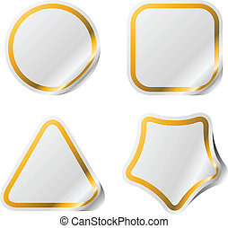 Blank stickers with golden frame.