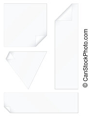 Blank stickers with peeled corners.