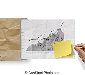 blank sticky note on business strategy crumpled envelope paper