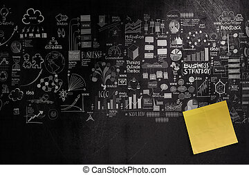 blank sticky note on hand drawn business strategy background as concept