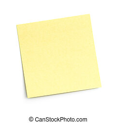 blank sticky note on white - blank yellow adhesive note on...