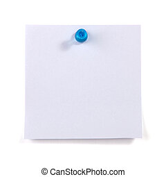 Blank sticky note pinned by the blue pin isolated on white...