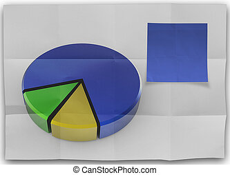 blank sticky note with crumpled paper and pie chart as concept