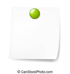 Blank Sticky Note With Green Push Pin With Gradient Mesh, Vector Illustration