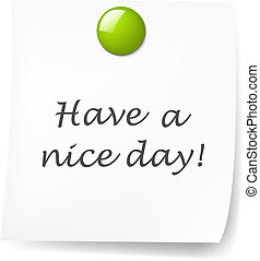 Blank Sticky Note With Green Push Pin