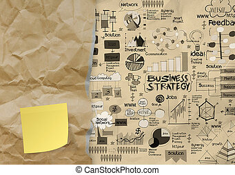blank sticky note with hand draw business strategy on crumpled paper envelope background as concept