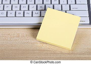 Blank Sticky Note With Keyboard - Blank yellow sticky note...