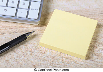 Blank Sticky Note With Keyboard